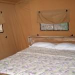 De slaapkamer van de safaritent op camping Barco Reale
