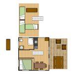 Grundriss Lodge 5 Personen mit Dachboden