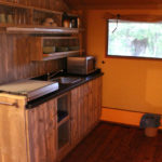 Keuken in de tent op Campo dei Fiori