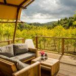 Mooi uitzicht terras lodgetent Pian di Boccio