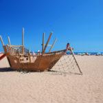 Camping Le Bellevue - speelboot op strand van Valras