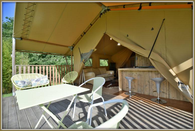 overdekt terras Eco Lodge Bergerac